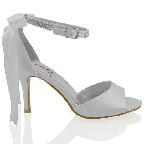 CLARA - bílé svatební sandálky s mašlí, 36-41, 41