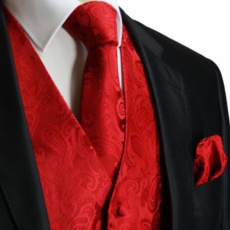 CORAL - pánský set vesta, kravata, kapesníček, 44