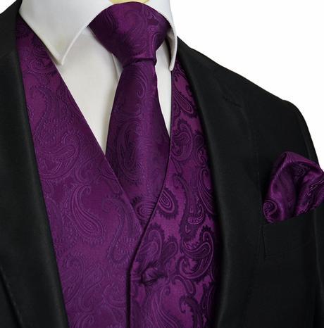 CORAL - pánský set vesta, kravata, kapesníček, 46