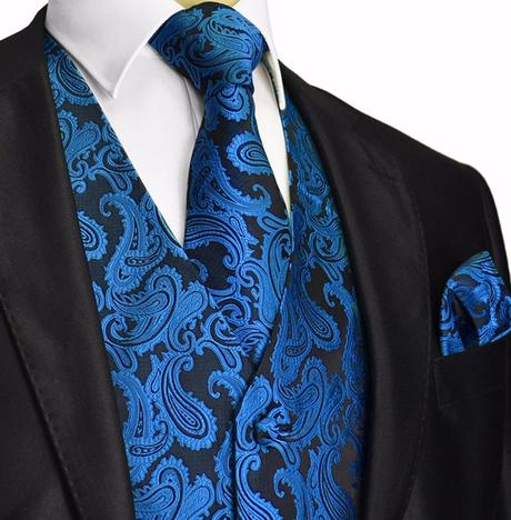 CORAL - pánský set vesta, kravata, kapesníček, 50