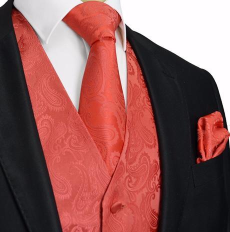 CORAL - pánský set vesta, kravata, kapesníček, 52
