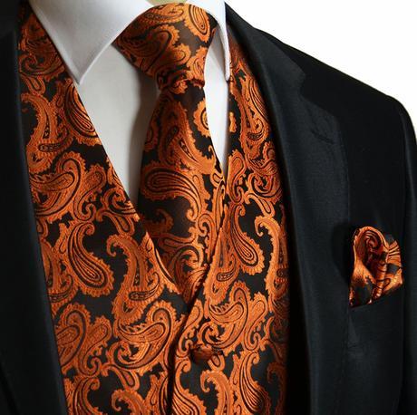 CORAL - pánský set vesta, kravata, kapesníček, 58