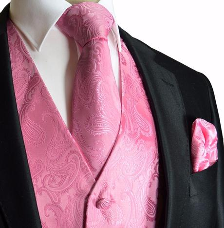 CORAL - pánský set vesta, kravata, kapesníček, 64
