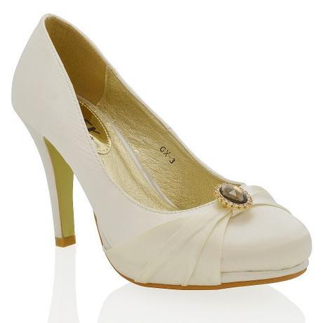 COURTNEY - bílé svatební saténové lodičky, 37