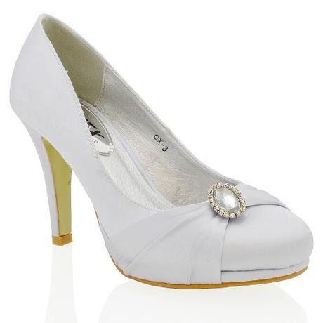 COURTNEY - bílé svatební saténové lodičky, 38