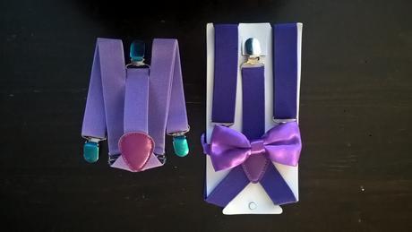 Dětský fialový set - kšandy a motýlek,