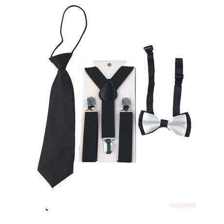 Dětský set - kšandy, kravata, motýlek, 134