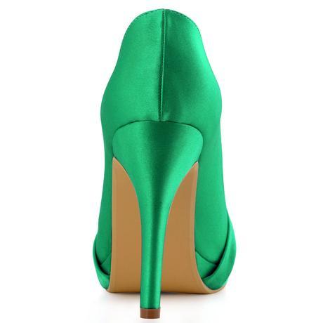 Elegantní zelené saténové lodičky, 22,5-26cm, 39