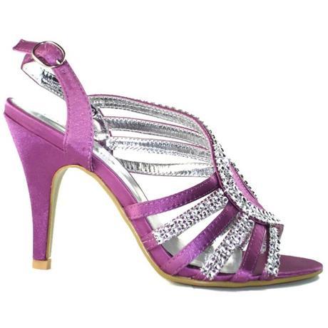 Fialové společenské, plesové sandálky, 36-41, 38