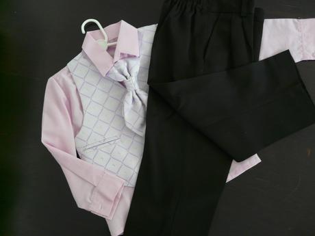 Fialový oblek, růžová košile 3-4 roky - půjčovné, 104