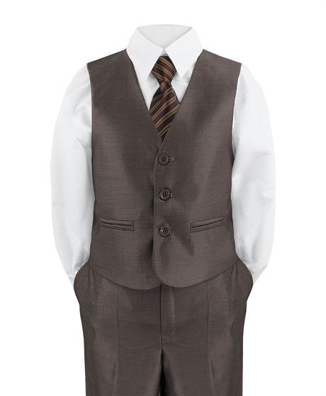 Hnědý společenský oblek - 1-14 let - prodej, 140