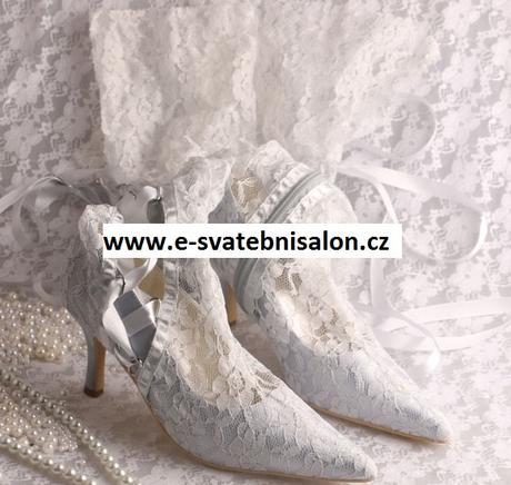 Ivory krajkové svatební kozačky, 34-42, 39