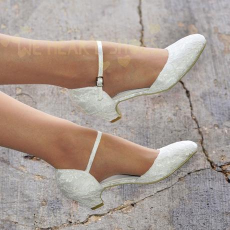 Ivory krajkové svatební lodičky, nízký podpatek, 39