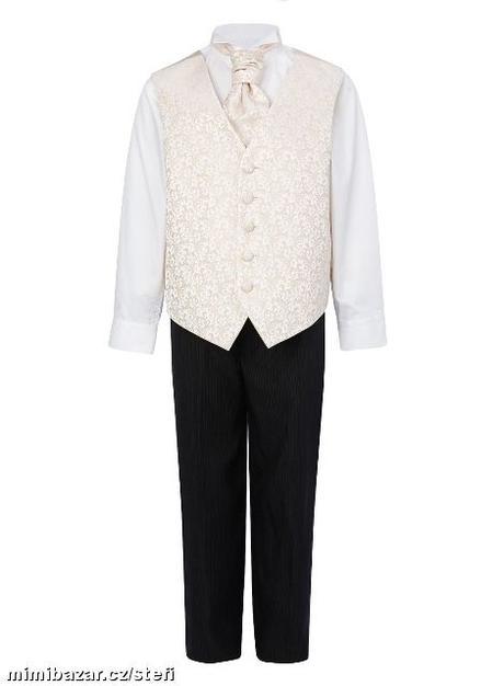 Ivory, krémový svatební oblek 3-4 roky půjčovné, 104