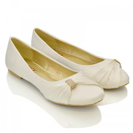 Ivory saténové svatební baleríny, 36-41, 37