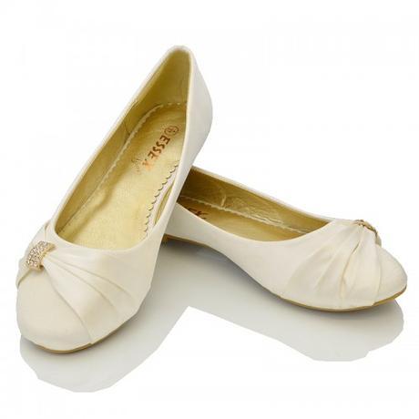 Ivory saténové svatební baleríny, 36-41, 41