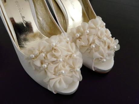 Ivory saténové svatební lodičky - 36, 36