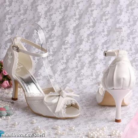 Ivory saténové svatební lodičky, sandálky, 34-42, 39