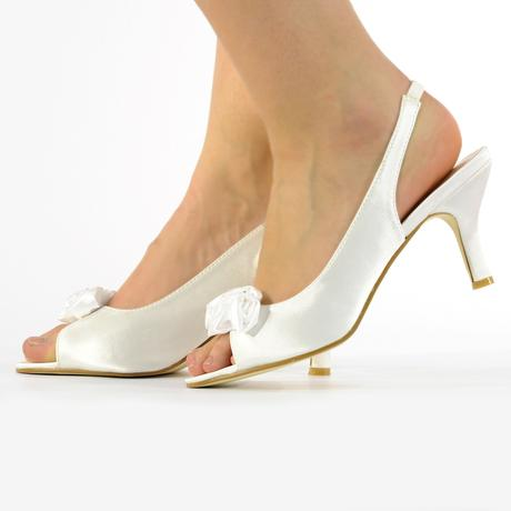Ivory saténové svatební lodičky, sandálky, 36-41, 39