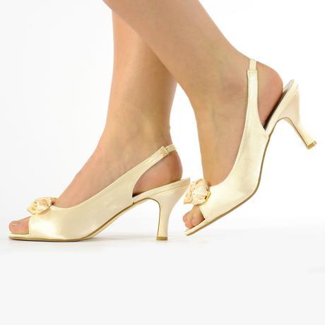 Ivory saténové svatební lodičky, sandálky, 36-41, 40