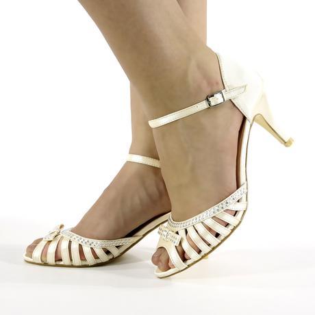 Ivory saténové svatební lodičky, sandálky, 36-41, 41