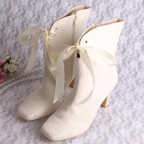 Ivory svatební kozačky, 8cm podpatek, 34-42, 40