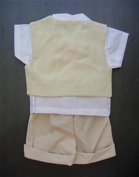 K zapůjčení - béžový letní oblek + capáčky, 80