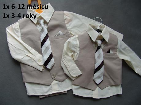 K zapůjčení - béžový oblek 6-12 měsíců a 3-4 roky, 110