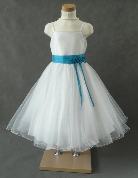 K zapůjčení - bílé šaty s tyrkys stuhou, 5-10 let, 134
