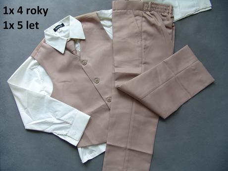 K zapůjčení - hnědý, béžový oblek 4 a 5 let, 110