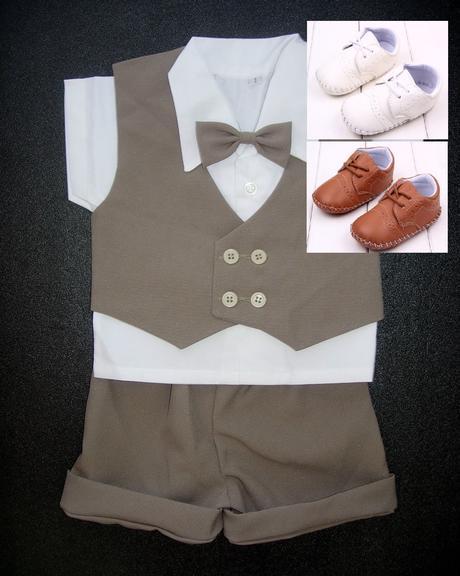 K zapůjčení - hnědý letní oblek + capáčky, 74