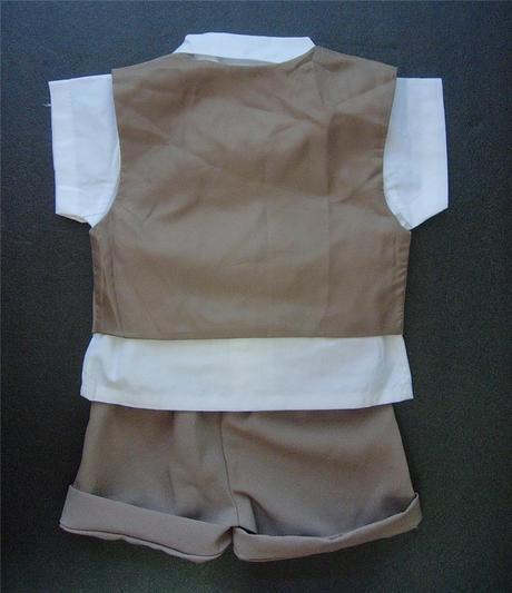 K zapůjčení - hnědý letní oblek + capáčky, 80