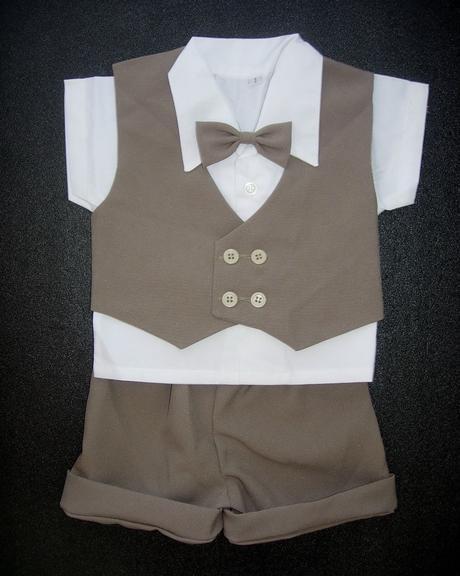 K zapůjčení - hnědý letní oblek + capáčky, 86