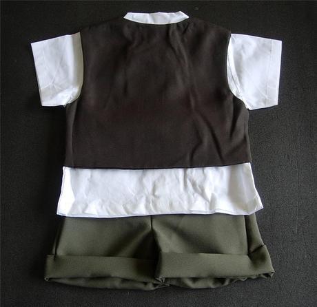 K zapůjčení - khaki letní oblek + capáčky, 92
