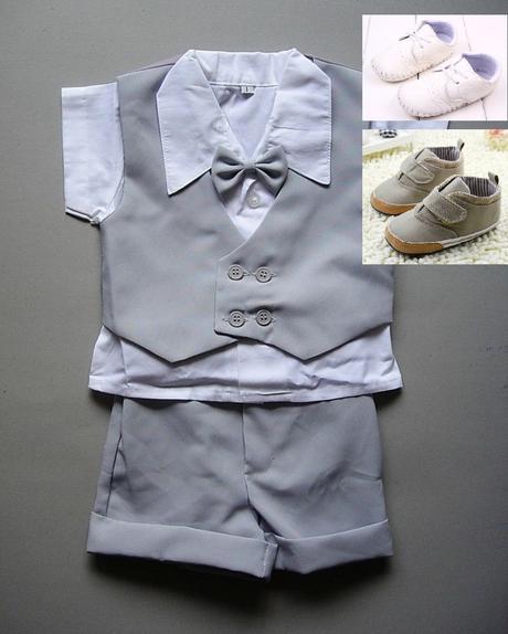 K zapůjčení - letní šedý oblek + capáčky, 62