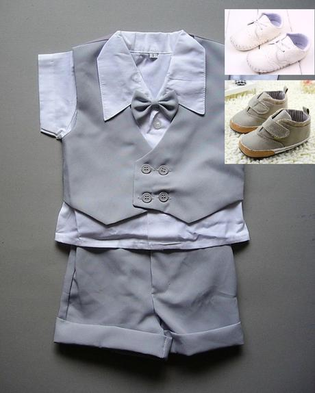 K zapůjčení - letní šedý oblek + capáčky, 80