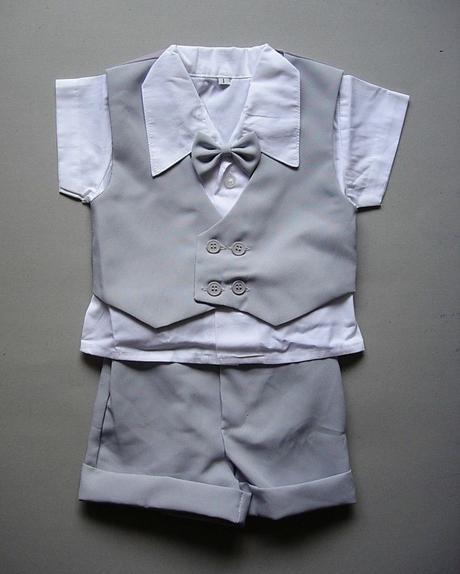 K zapůjčení - letní šedý oblek + capáčky, 98