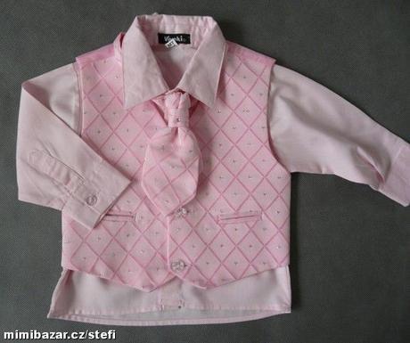 K zapůjčení - růžový oblek, různé velikosti, 98