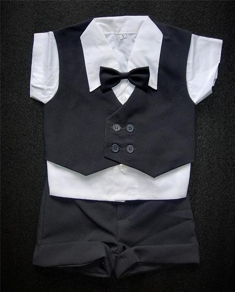 K zapůjčení - šedý dětský letní oblek + capáčky, 80