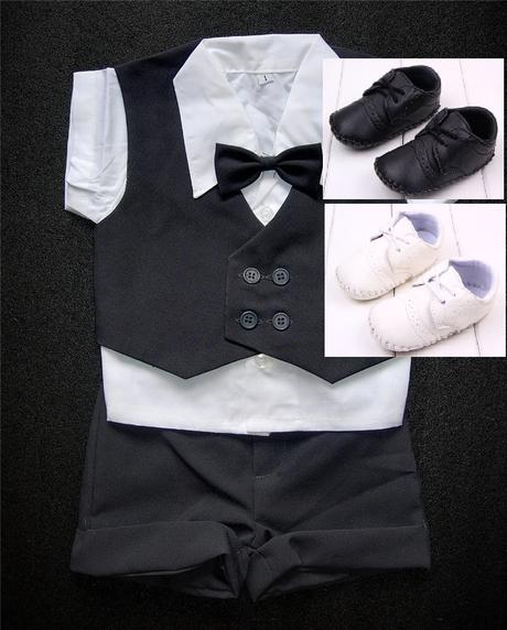 K zapůjčení - šedý dětský letní oblek + capáčky, 92