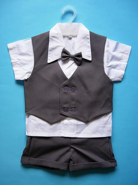 K zapůjčení - tmavě šedý letní oblek + capáčky, 68