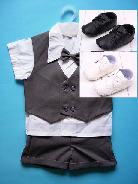 K zapůjčení - tmavě šedý letní oblek + capáčky, 80