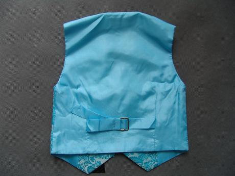 K zapůjčení - tyrkysový (modrý) oblek, 0-6,11,12, 158