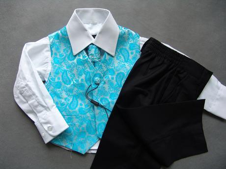 K zapůjčení - tyrkysový (modrý) oblek, 0-6,11,12, 62