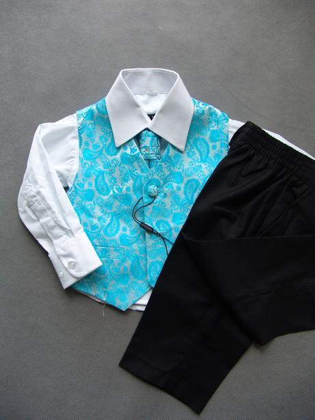 K zapůjčení - tyrkysový (modrý) oblek, 0-6,11,12, 68