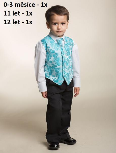 K zapůjčení - tyrkysový (modrý) oblek, 0-6,11,12, 152