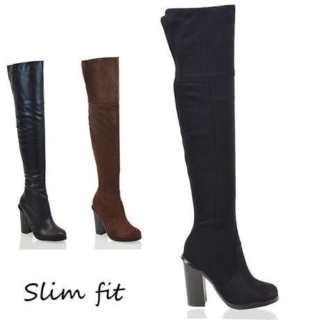 Kozačky, Slim fit, semiš, koženka, 36-41, 36