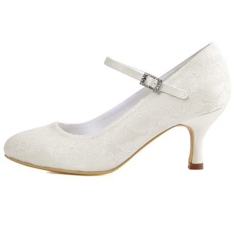Krajkové bílé, ivory svatební lodičky, 22,5-26, 39