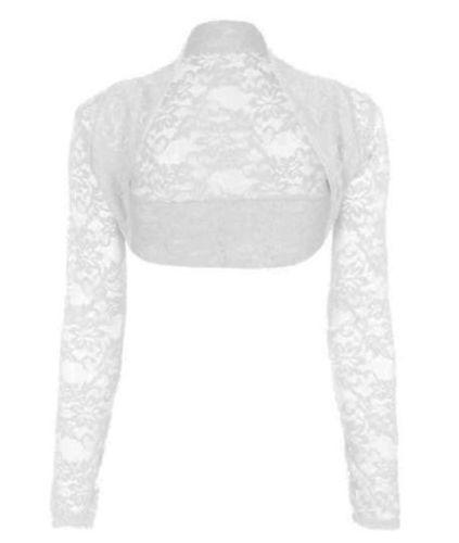 Krajkové bílé svatební bolerko, S-L, 38