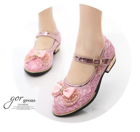 Krajkové dětské boty s podpatkem, 26-37, 35